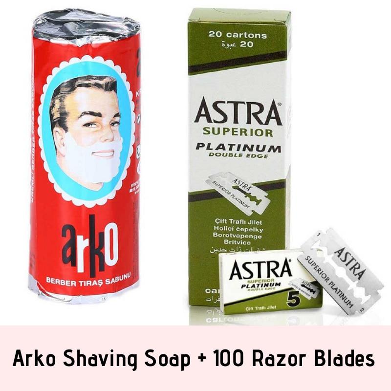 100 Astra Superior Platinum Double Edge Side Razor Blades + Arko Shaving Soap