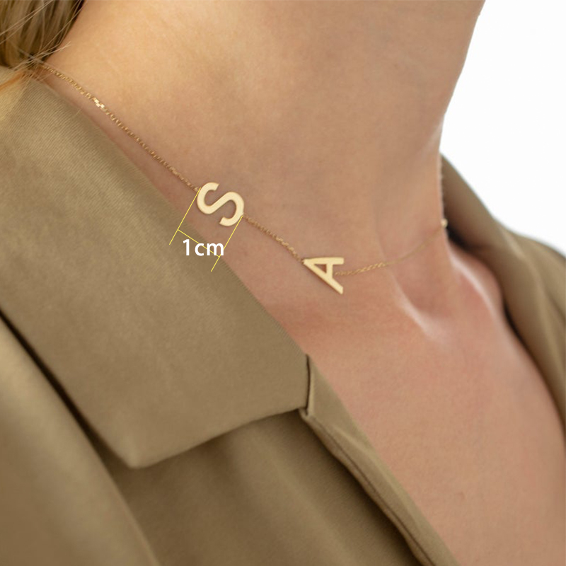 Personalized Sideways Initial Necklace Gold Sideways Letter Necklace collier lettre stainless steel jewelry collar de iniciales