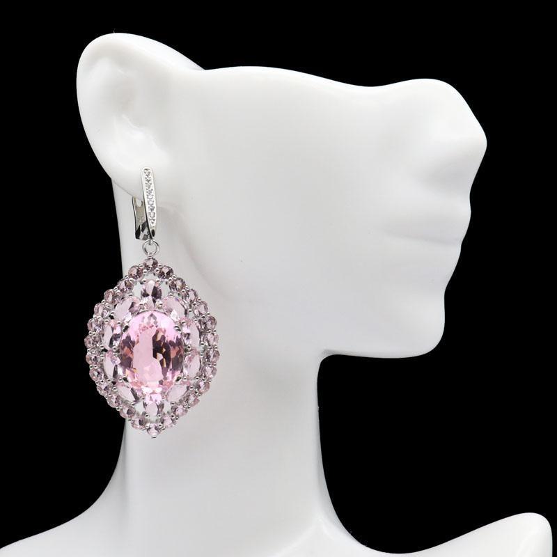 40x30mm Classic Long Big Created Pink Kunzite White CZ Wedding Woman's Silver Earrings