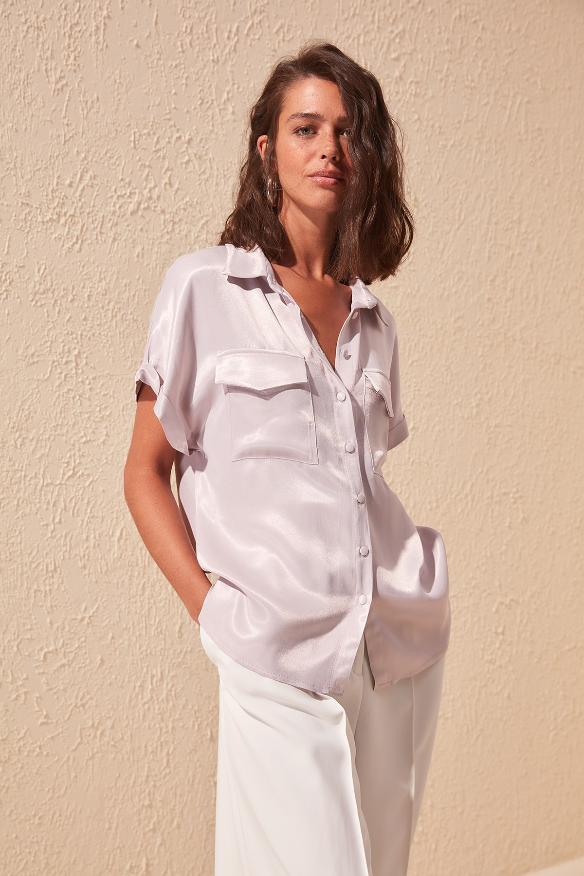 Trendyol Pocket Detail Satin Draped Shirt TWOSS20GO0272