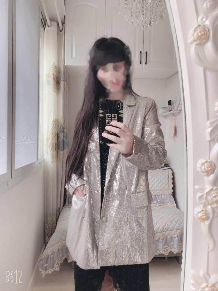 Double Breasted Blazer Sequins Club Blazer Long Sleeve Suit Coat Jacket Fashion Chic Women BlingBling Blazers Female 2019 WB20 reviews №1 99469