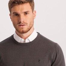 Hateko Men Cotton Mix Crewneck Grey Sweater Slim Fit