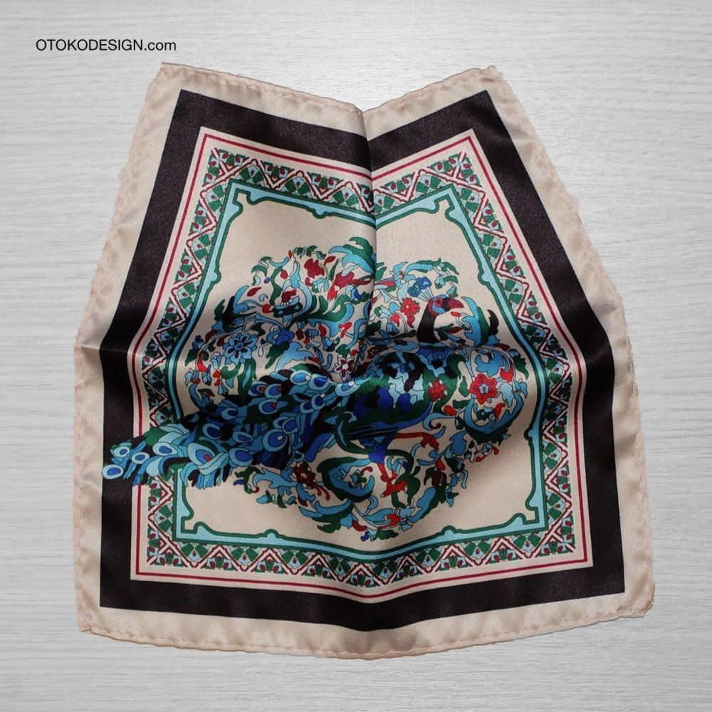 Pocket Square With Peacock Pattern On Beige Background (53136)