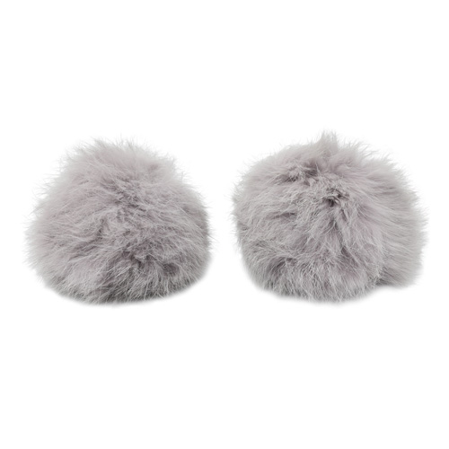 Pompon Made Of Natural Fur (rabbit), D-8cm, 2 Pcs/pack (D St. Gray)