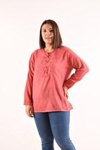 Women's Large Size Button Grenadine Blouse 4011