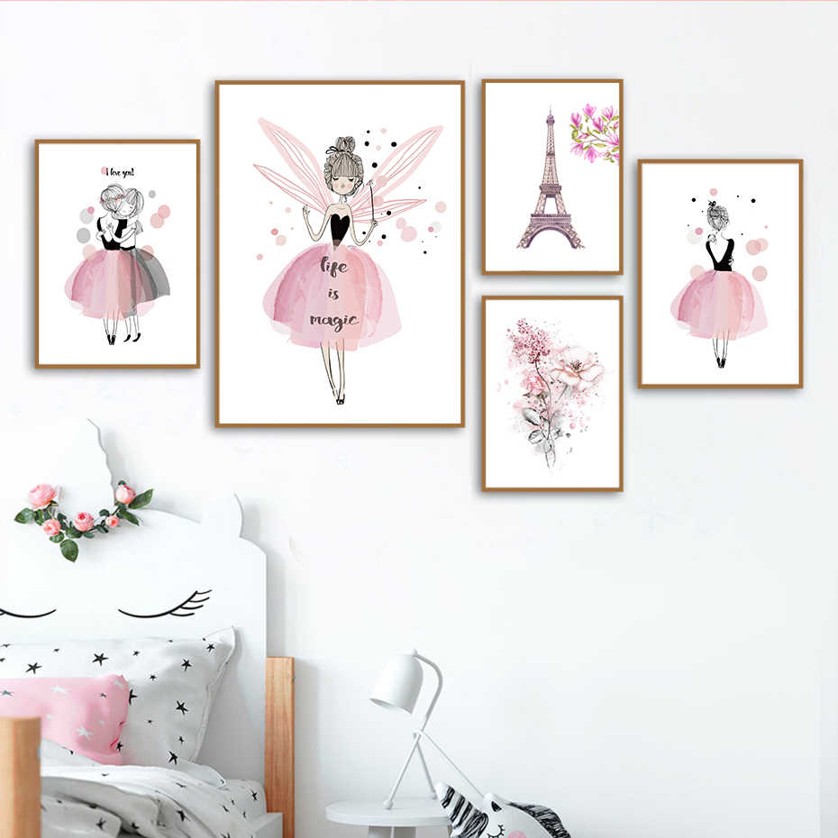 Watercolor Pink Kawaii Girls Poster Nursery Decor Flower Canvas Paintings Print Wall Art Pictures Gifts Children Room Home Decor