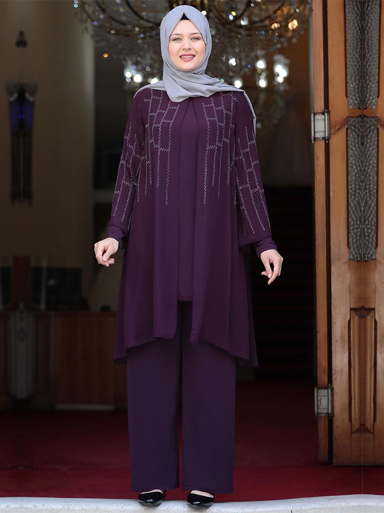 Plus Size Tunic Pants Muslim Suit Dubai Abaya Islamic Women Clothing New Season Made In Turkey High Quality