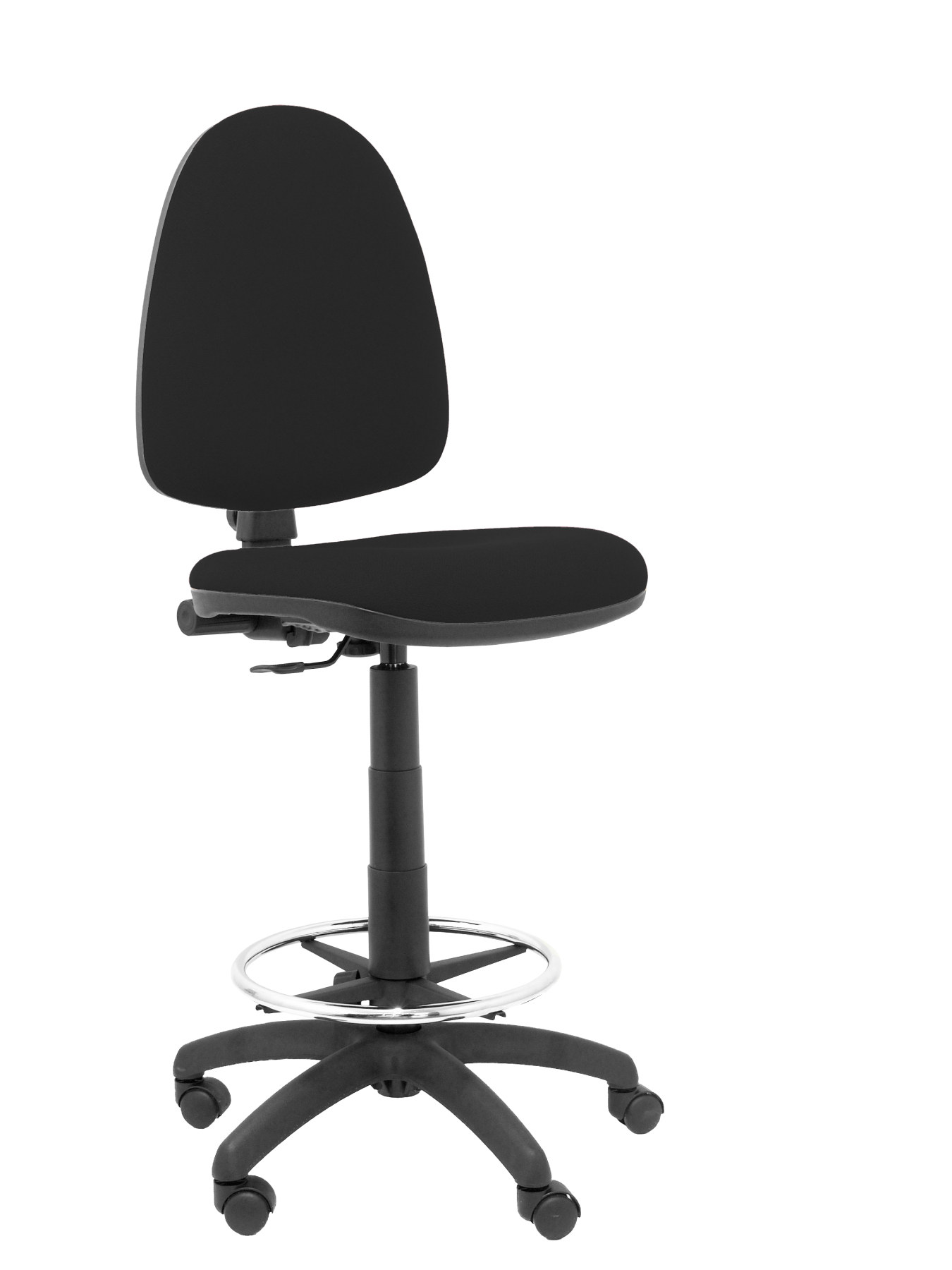 Ergonomic stool with mechanism permanent contact  adjustable height and hoop footrest Chrome Seat and res|  - title=