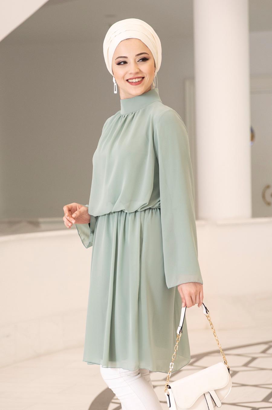 Hijab Tunic Polo Neck Chiffon Fabric Loose Cut Large Size Islamic Clothing High Quality Made in Turkey