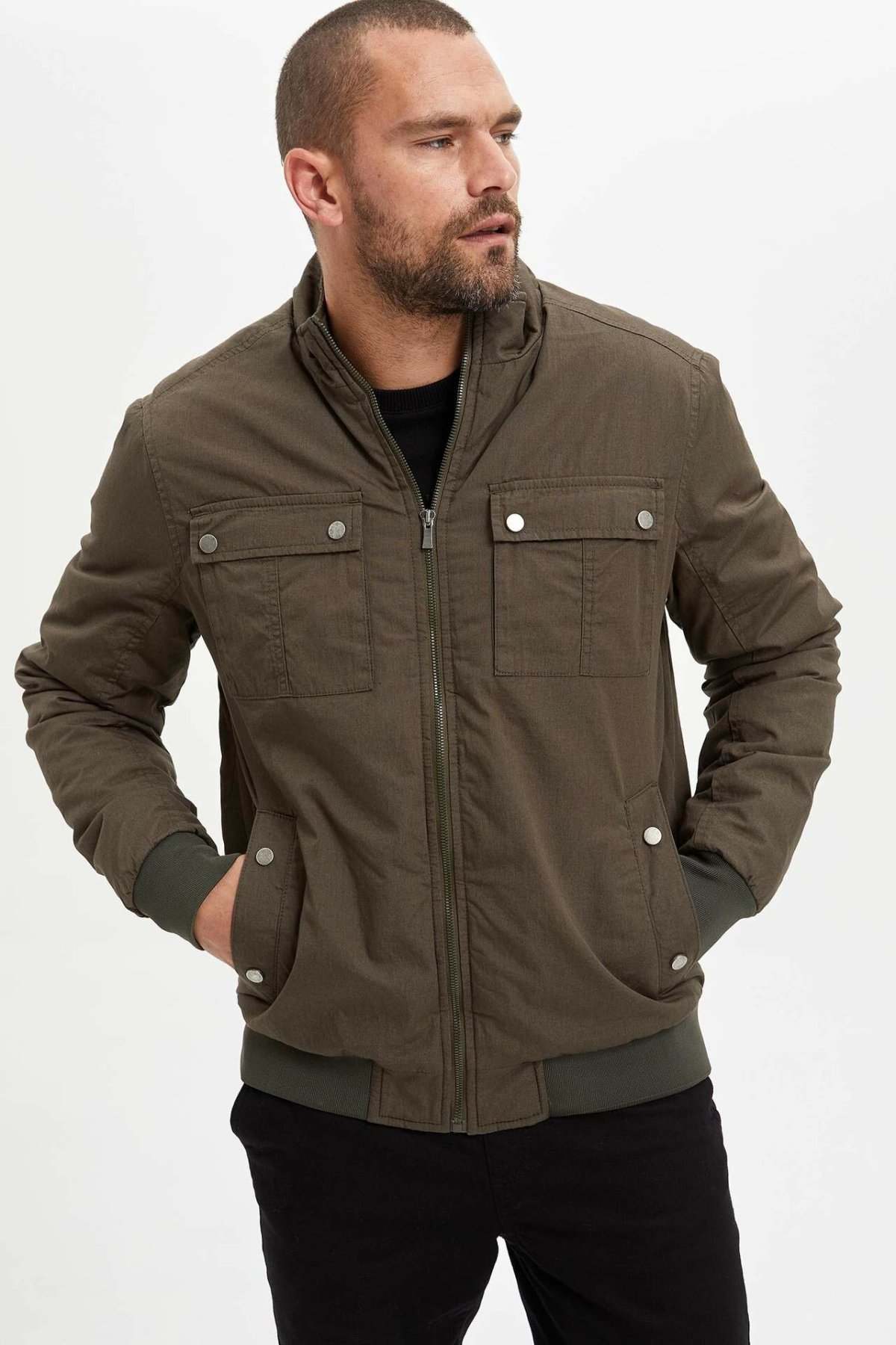 DeFacto Man Winter Thick Zipper Coats Men Casual Pockets Cotton Coats Male Dark Color Mont Top Coats-L9591AZ19WN