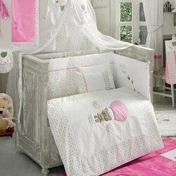 Сделано в Турции, детские кроватки, постельное белье-бампер, набор для мальчиков и девочек, детская кроватка с мультяшными животными, хлопок...