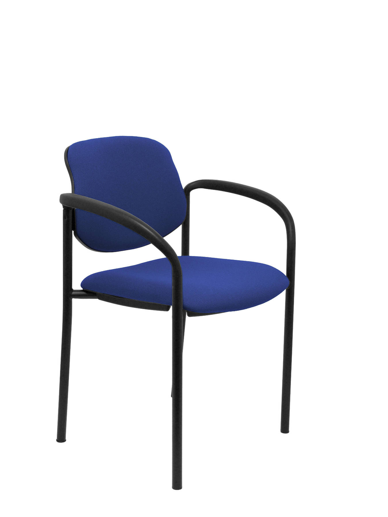 Visitor Chair 4's Topsy, With Arms And Estructrua Negro-up Seat And Backstop Upholstered In BALI Tissue Color Blue PIQU