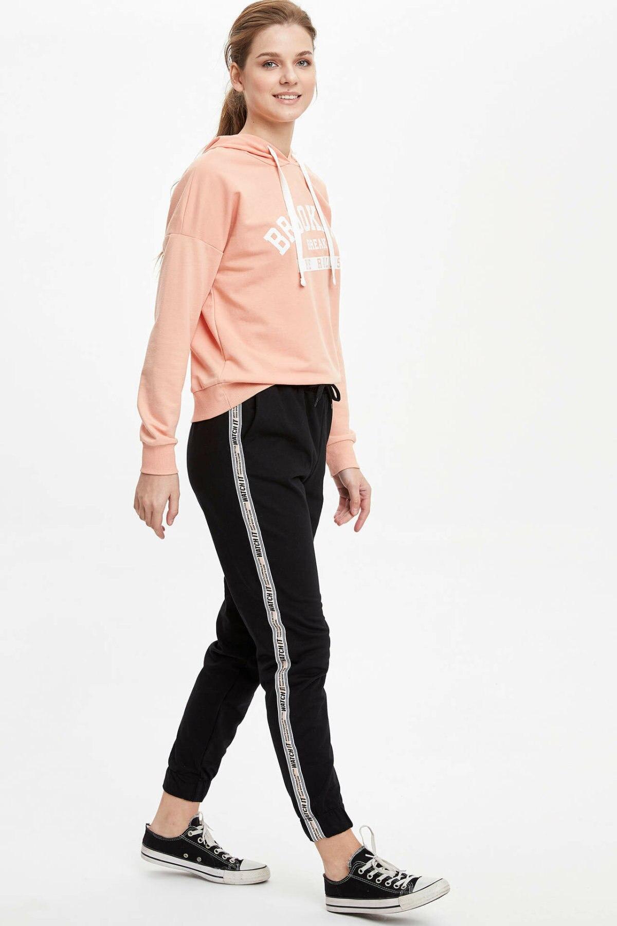 DeFacto Woman's Trousers Women's Spring Casual Black Bottoms Women's Sports Pants Women Lace-up Pants-M9618AZ20SP