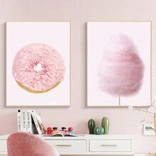 Розовый пончик плакат для детской Декор нежно розовый хлопок