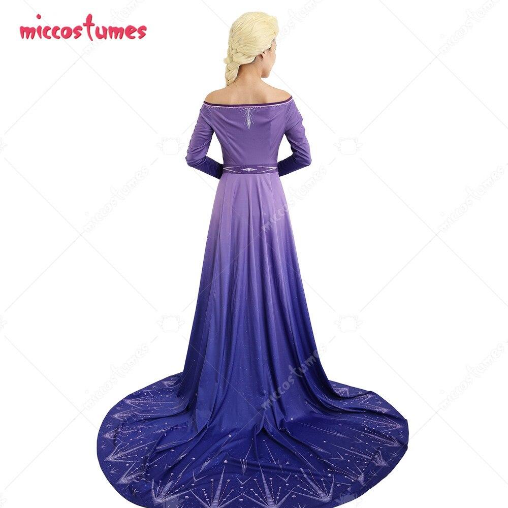 Mega Sale A9b2 Elsa Cosplay Costume Purple Dress Off The Shoulder Robe Gown Cicig Co