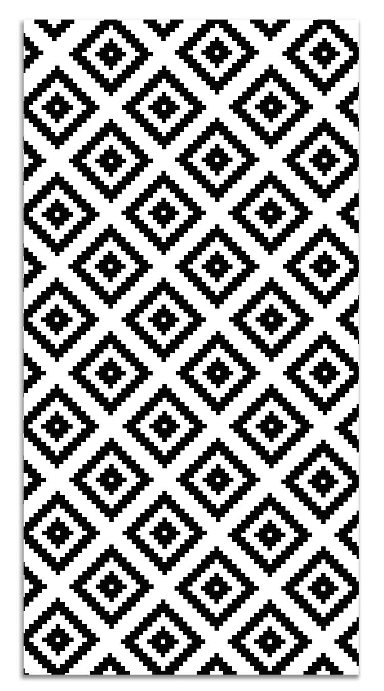 Panorama Vinyl Rug Black Squares - Kitchen Carpet Anti-Slip Flame Retardant - Living Room Rug - XXL Rugs - PVC Rugs