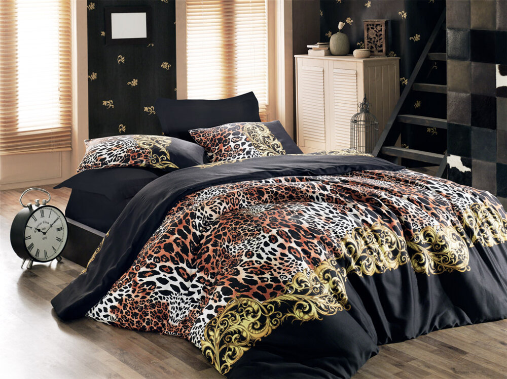 Gold Case Satin Double Bed Duvet cover set Leopard