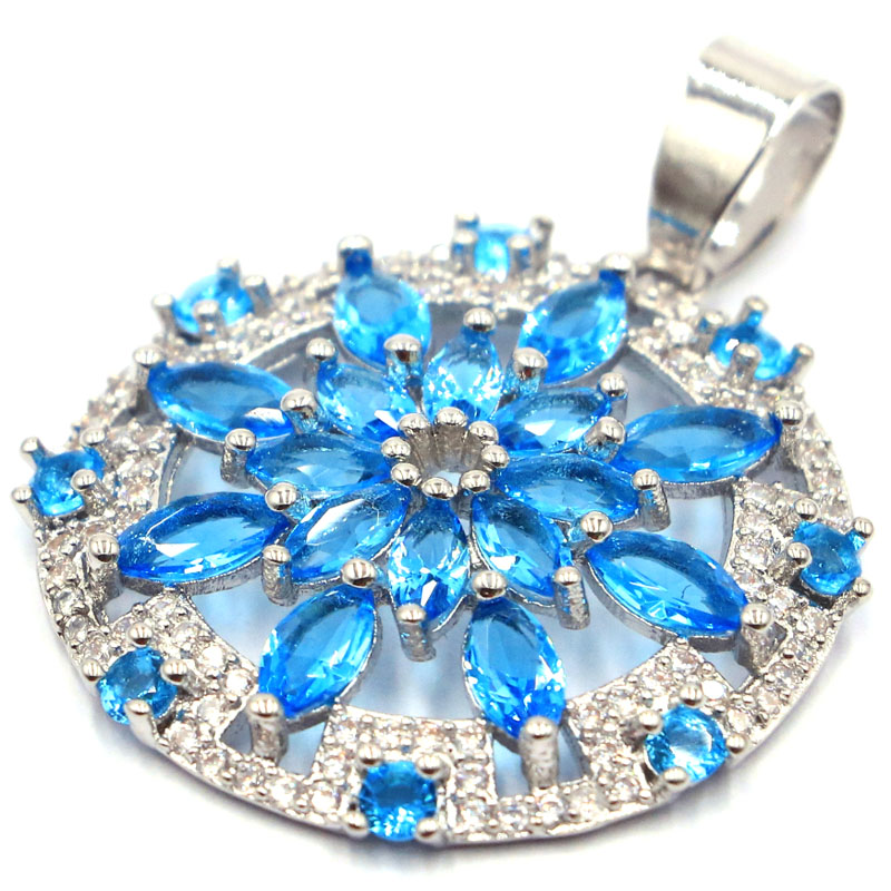 36x27mm Deluxe Created Paris Blue Topaz Star Shape Natural CZ Gift For Mother Silver Pendant