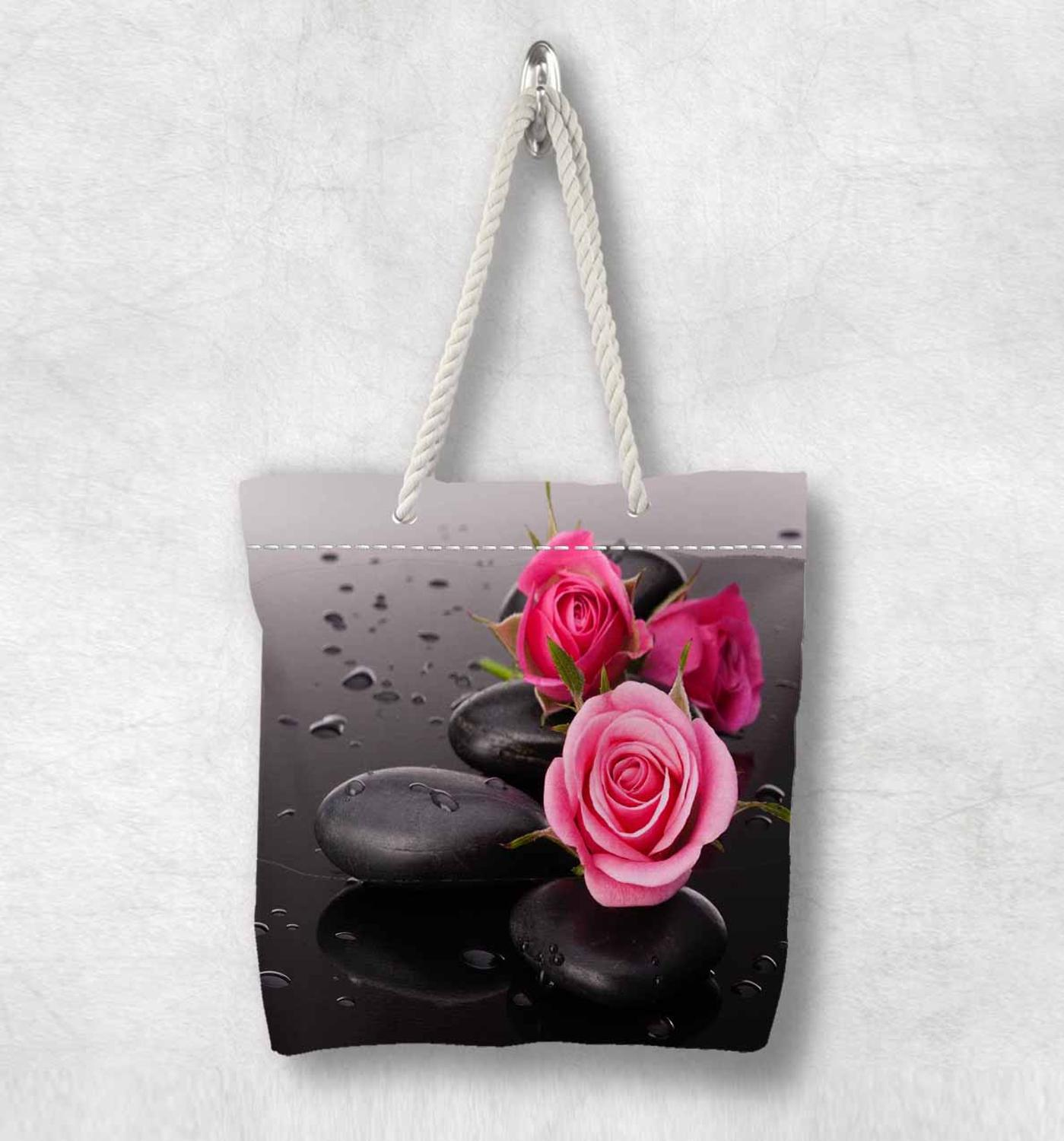 Else Pink Roses Black Spa Stones Flowers New Fashion White Rope Handle Canvas Bag Cotton Canvas Zippered Tote Bag Shoulder Bag