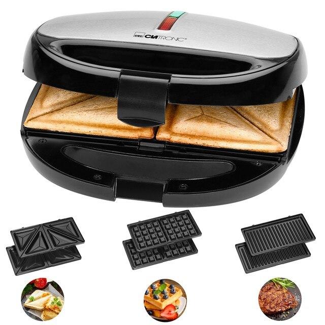 Clatronic ST 3670 Sandwich interchangeable plates, Sandwich toaster, waffle iron Belgian Waffle, Grill Iron machine meat fish 1