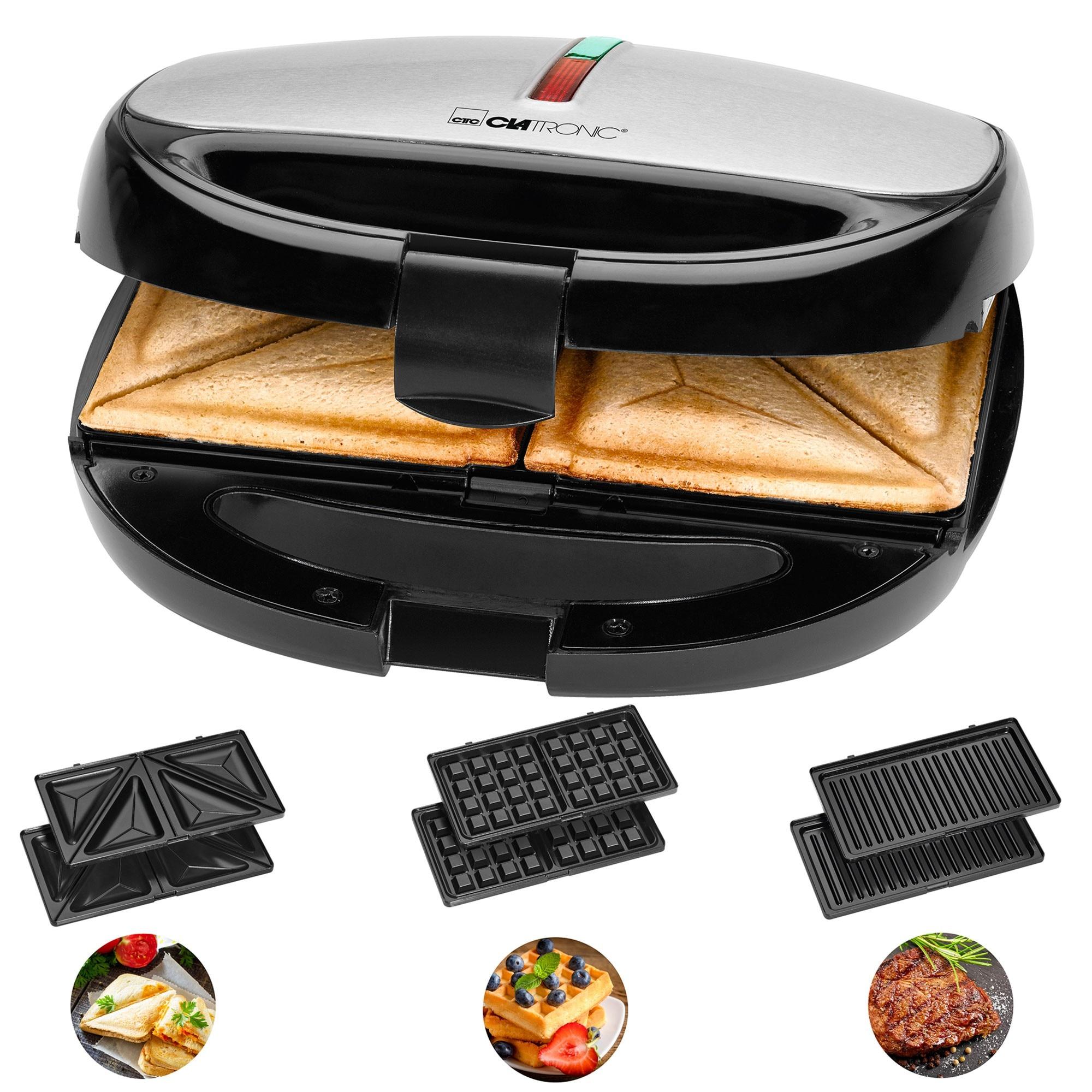 Clatronic ST 3670 Sandwich Interchangeable Plates, Sandwich Toaster, Waffle Iron Belgian Waffle, Grill Iron Machine Meat Fish