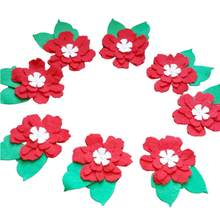 Felt Flowers,Set of 100 Pieces Felt Leafy Flowers Embellishments,Red, Cream, Green, Spring, Easter Themes,Tattared Felt Flowers()