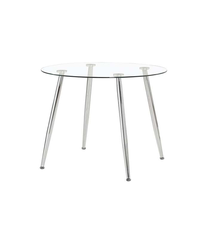 Round Dining Table Danish Glass Top Chrome Legs.
