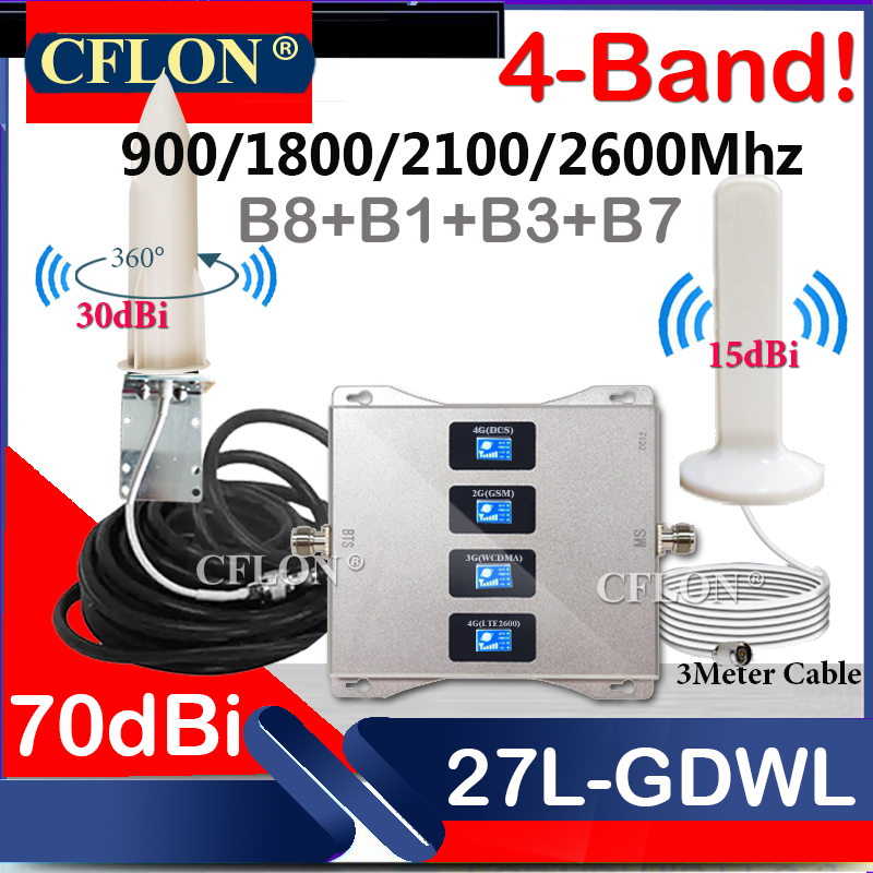HotDeal!! Multi-Band CellPhone 4G Cellular Amplifier 900 1800 2100 2600Mhz GSM Repeater 2G 3G 4G Mobile Signal Booster Repeater