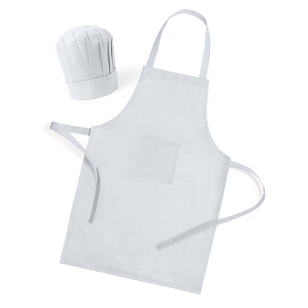 Lot 10 Set Apron + Cap Infant White-Aprons For Children-Details And Order Birthday Gifts And Parties.