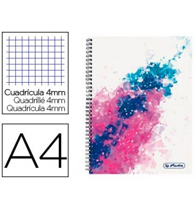 SPIRAL NOTEBOOK HERLITZ A4 80 SHEETS MICROPERFORATED FRAME 4 MM COLOR SPLASH PINK