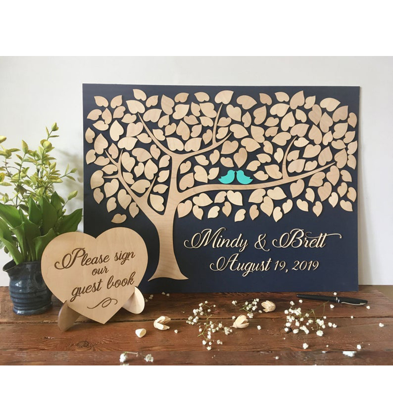 Unique Guest Book Alternatives 3d Wood Guest Book Wedding Tree And Hearts Personalized Wedding Guest Book Rustic Wedding Decor Signature Guest Books Aliexpress