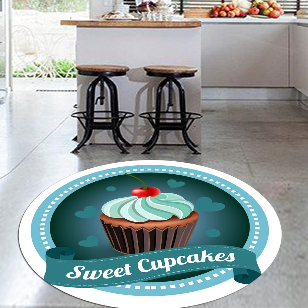 Else Blue Sweet Cupcakes On Red Cherry 3d Pattern Print Anti Slip Back Round Kitchen Carpets Area Rug For Living Rooms
