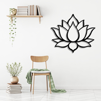 Lotus Flower Metal Black Decor Wall Art Decorative Turkish Style large wall decor for Bedroom Living Room Office Home decor