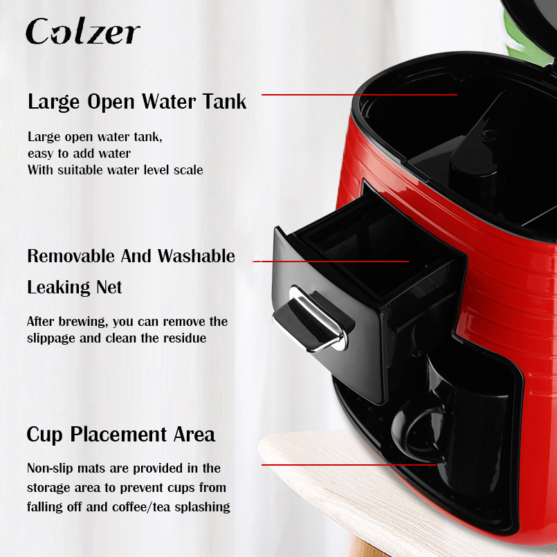 Colzer Coffee Machine With 2pcs Cups Concentrated American Double Cup Espresso Drip Machine For Coffee Maker Machine For Home 5