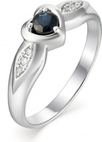 Alcor heart ring with sapphire and white gold diamonds