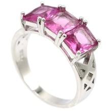 Шикарные Серебряные кольца SheCrown 18x8 мм 4,4 г из розового турмалина, женская повседневная одежда, оптовая продажа, Прямая поставка