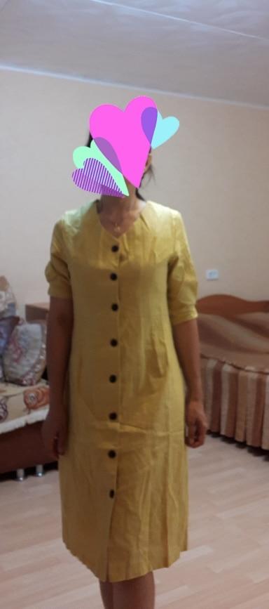 Summer Dress Women Cotton Linen Ol Casual Half Sleeve Dresses Female Dress V Neck Solid Yellow Dress Boho Robe Femme Vestido photo review