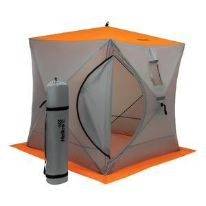 Палатка зимняя Куб 1,8х1,8 orange lumi/gray Helios (HS-ISC-180OLG) для подледной рыбалки с удочкой