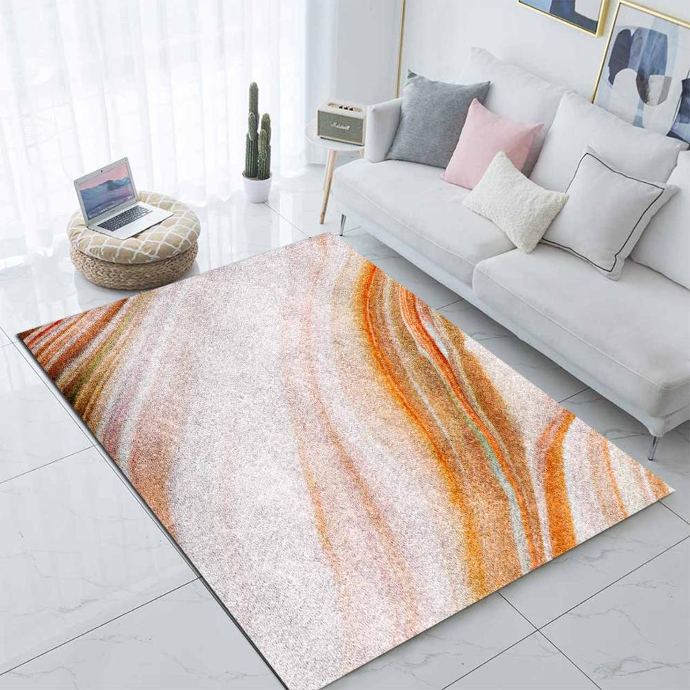 Else Brown White Marble Waves Nordec Scandinav 3d Print Non Slip Microfiber Living Room Decorative Modern Washable Area Rug Mat