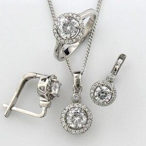 Женский комплект из стерлингового серебра 925 пробы с цирконием, ожерелье, кольцо, серьги-гвоздики, ювелирный набор, модный винтажный подарок...