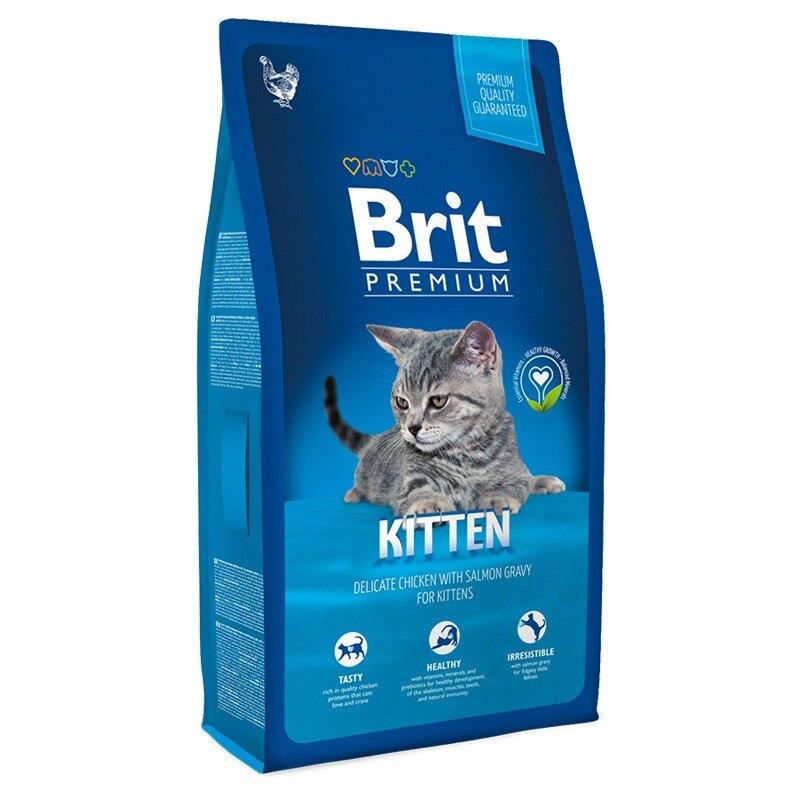 Корм для кошек Brit Premium Cat Kitten для котят, беременных и кормящих кошек, Курица, 1,5 кг.