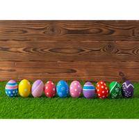 Easter Eggs Grass Wooden Wall Photography Backdrop Customized Background Photo Studio for Children Baby Family IO