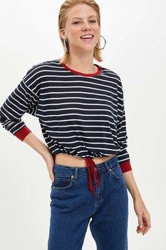 Defact otoño mujeres moda o-cuello Tops mujer de manga larga de punto a rayas suelta camiseta señoras ropa nueva-M0415AZ19AU