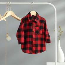 Cotton Blouse Shirt Long-Sleeve Plaid Newborn Girl Baby-Boy Child Kid Unisex Top Autumn