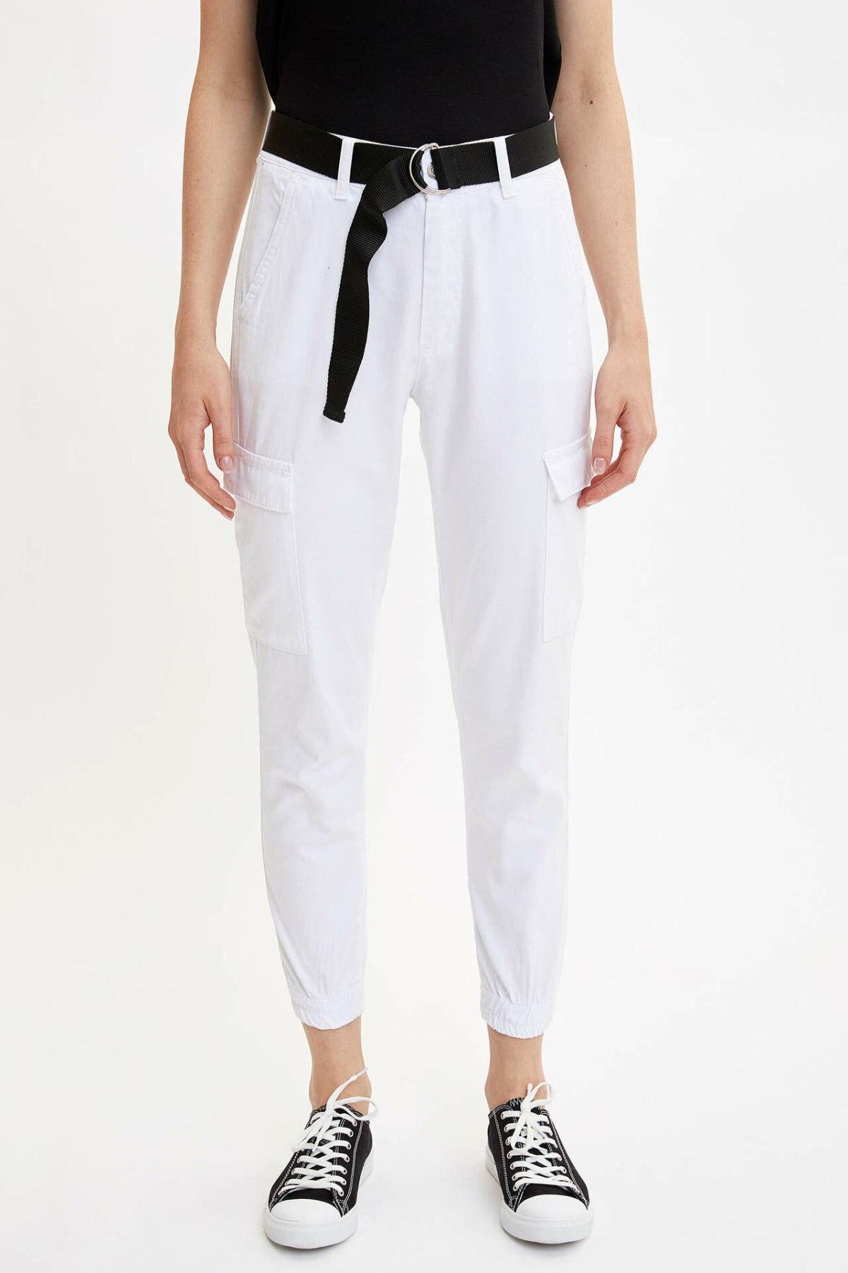 DeFacto Fashion Women Solid Pocket Trousers Casual Harem Pants Ladies Loose Belt Cargo Pants Female New - L6284AZ19SM