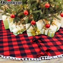 OurWarm 48inch Buffalo Plaid Christmas Tree Skirt Red Double Layers Xmas Tree Skirt for Hotel Christmas Tree Decor for Home