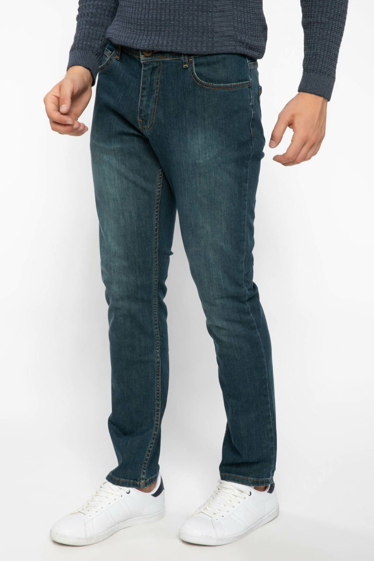 DeFacto Dark Blue Men Slim Fir Denim Jeans Pocket Low Waist Denim Long Pants Male Casual Trousers-J7751AZ18AU-J7751AZ18AU