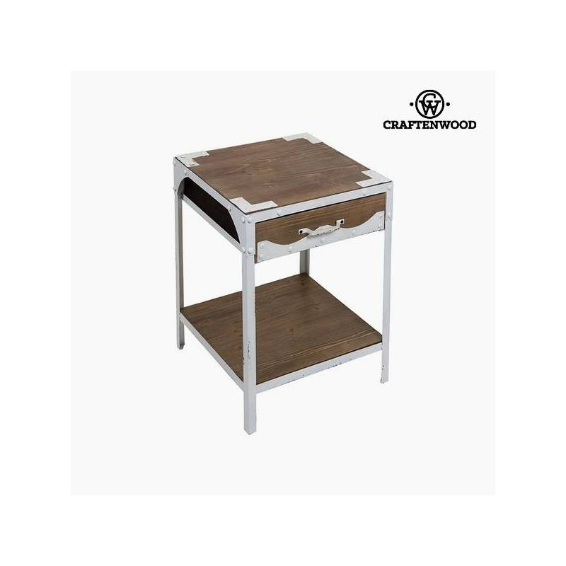 Table Fir Wood White Iron (1 Drawer) (45x45x56 Cm) By Craftenwood