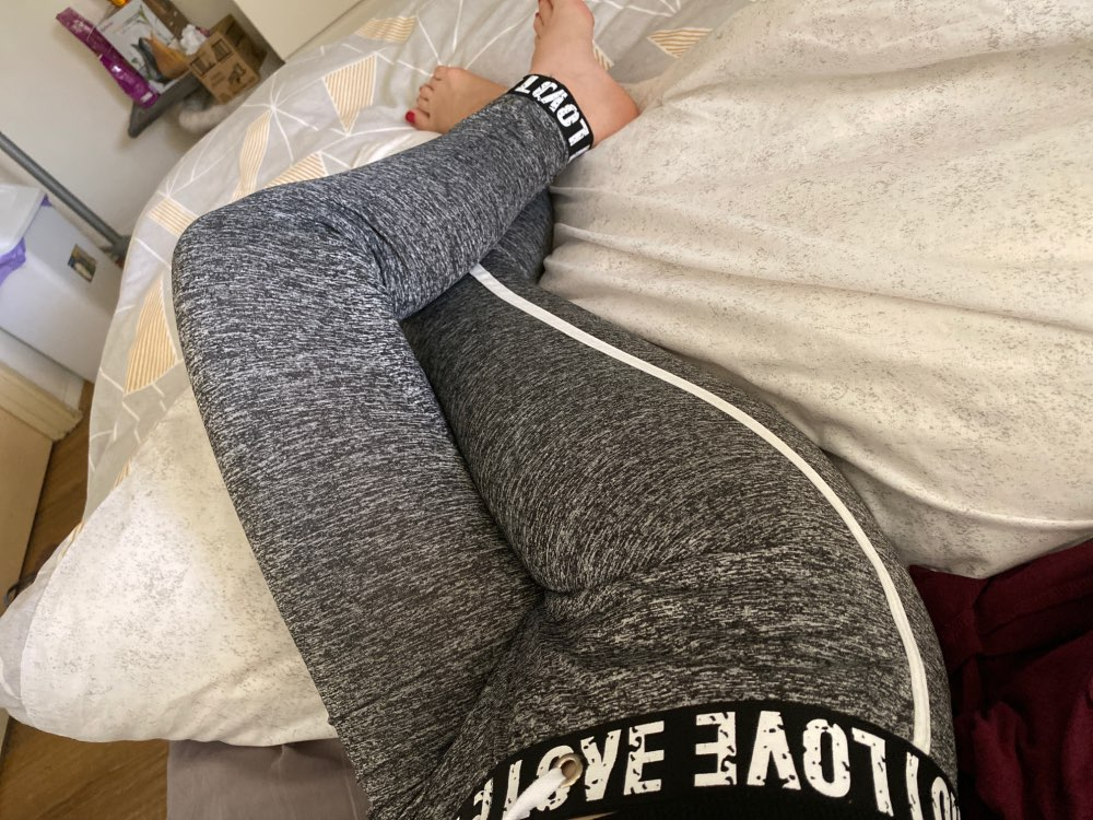 Grey Fitness Letter Taped Drawstring Waist Leggings Active Wear Women Leggings Spring Summer Casual Fashion Pants photo review