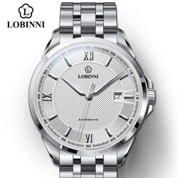 LOBINNI Top marka Luxury Business męskie zegarki ze stali nierdzewnej wodoodporne MIYOTA Auto mechaniczne zegarki szkieletowe fajny projekt|Zegarki mechaniczne|   -